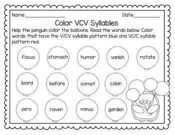 Syllable Patterns V/CV, VC/V, And VC/CV (No  Cv Words