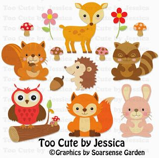 Cute Woodland Animals cutting files, cutting pattern, WPC, SVG, GSD, MTC, SCAL, SILHOUETTE, PDF, JPEG, DXF, Too Cute by Jessica, paper piecing, pazzles