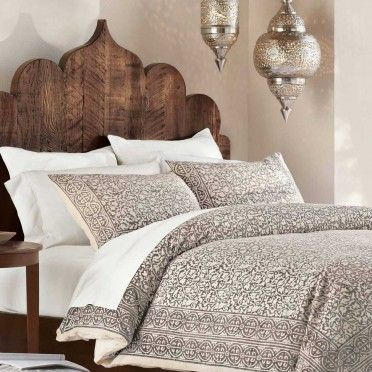 Taupe Block Print Bedding - VivaTerra - and look at that stunning wooden scalloped headboard!