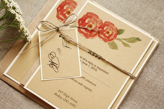Rustic and watercolor flower wedding invitation - twine tag