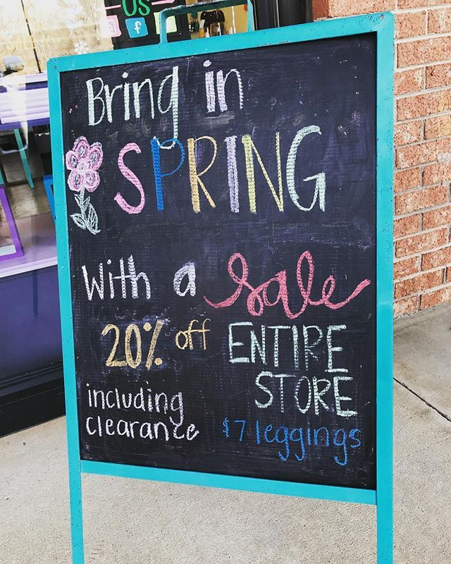 Enjoy this beautiful day and come in and shop with us - 20% off the entire store until tomorrow!! including clearance and $7 leggings!