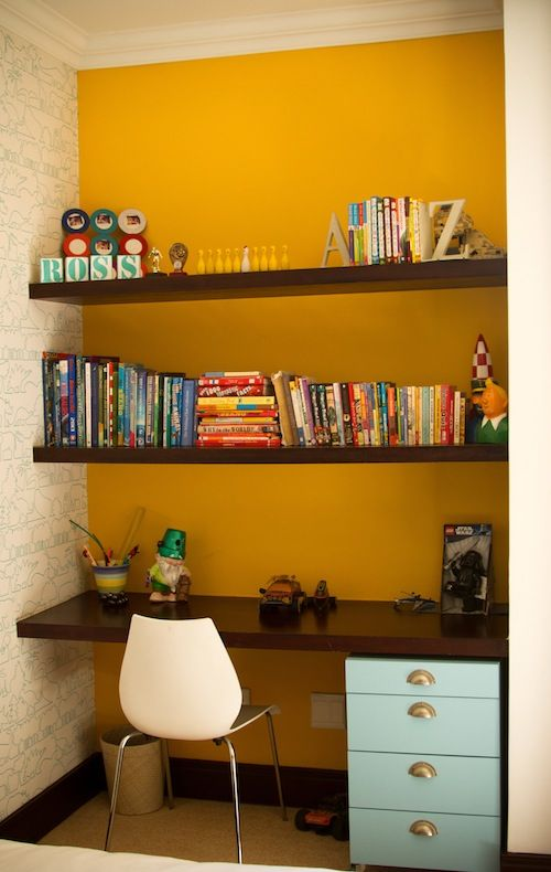 "I like the  ""built-in"" desk and shelves.  This could totally be done with a little file cabinet, a slab of wood for the desk and shelves!  Cool!  Living With Kids: Anna Keep"