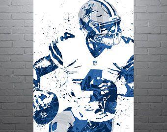 Dak Prescott Dallas Cowboys Sports Art Print, Football Poster, Kids Decor, Watercolor Contemporary Abstract Drawing Print, Modern Art