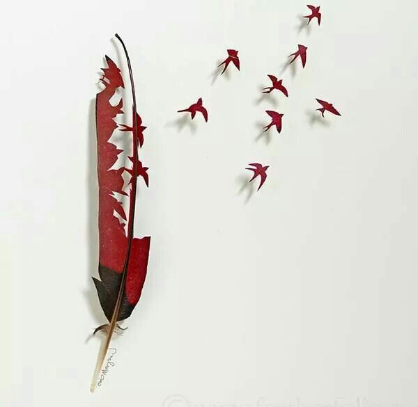 Feather art cut outs