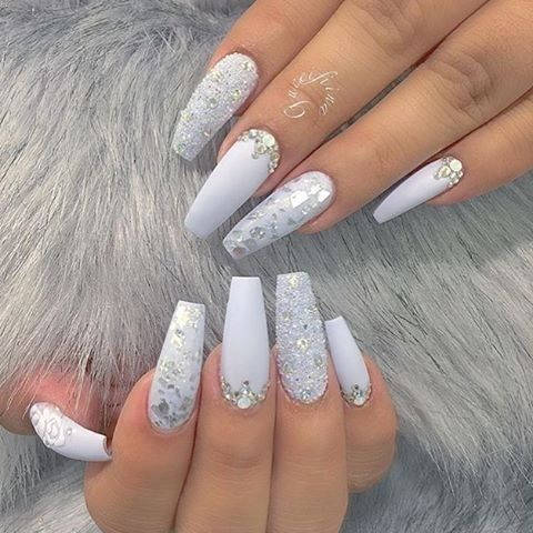 Nail Art Design Ideas Inspiration Diy S Coffin Rhinestone Jewel Gem Diamonds White And Simple Gorgeous Beautiful