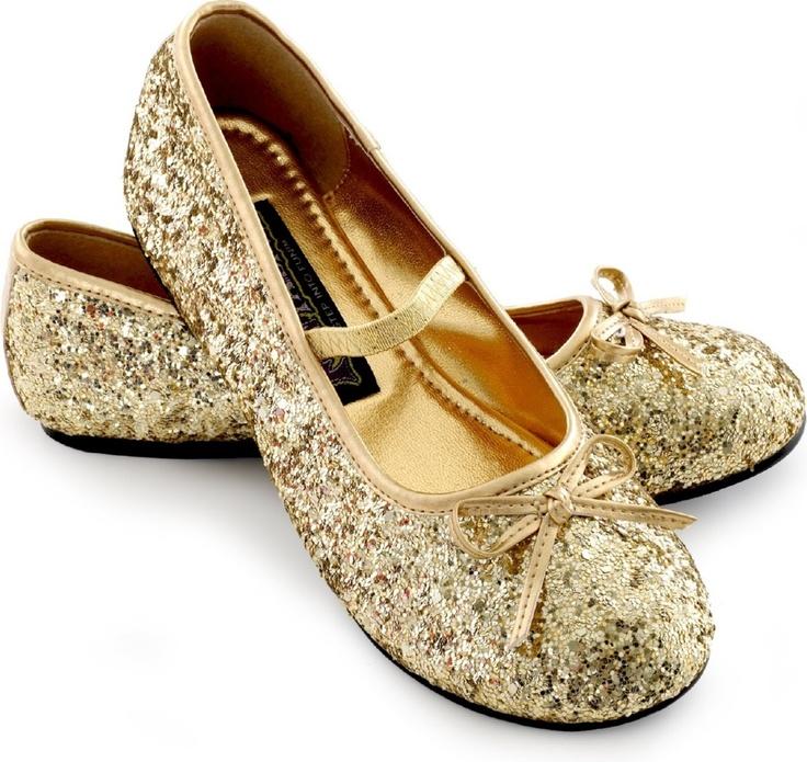 Gold Sparkle Ballerina Kids Shoes