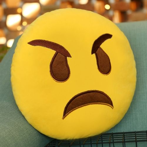 [$1.65] Angry Face Creative Emoji Throw Pillow Back Pillow, Size: About 28cm x 28cm