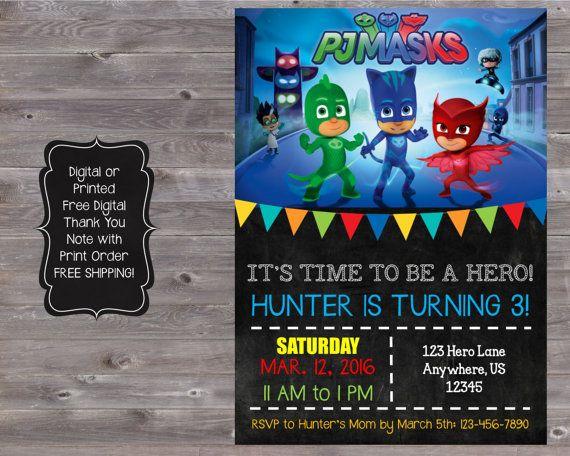 109 melhores imagens sobre Festa PJ Masks no Pinterest | Convites, Convites de aniversário e ...