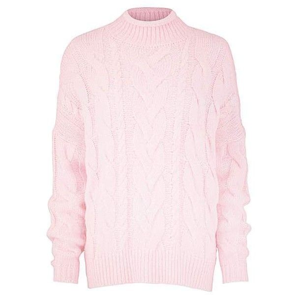 Cable High Neck Jumper ❤ liked on Polyvore featuring tops, sweaters, chunky cable sweater, cable-knit sweater, jumpers sweaters, high neck sweater and pink cable knit sweater