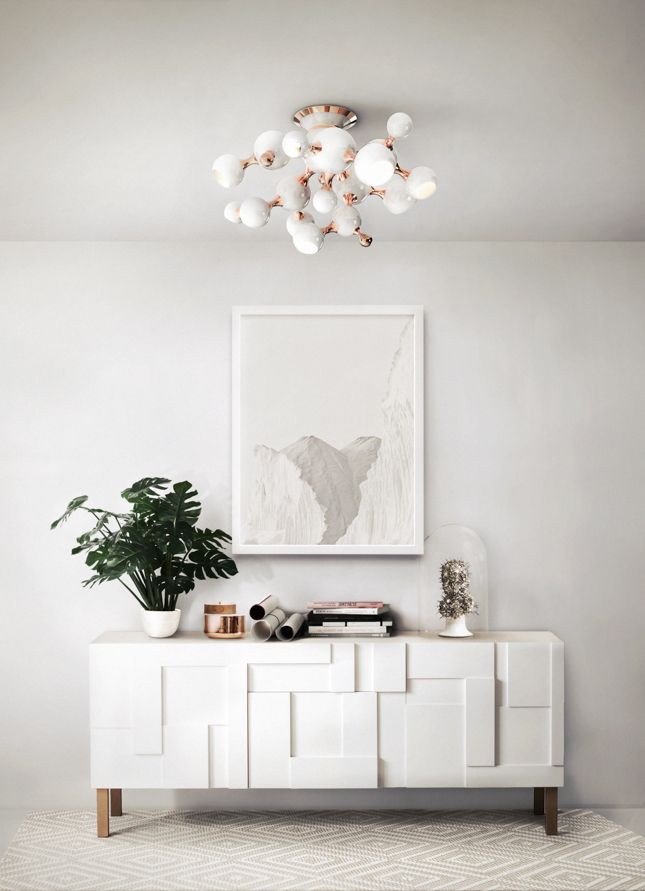 Top white chandeliers for living rooms by Home Design Ideas - http://www.homedesignideas.eu/top-white-chandeliers-for-living-rooms/ A recreation of atomic age there is a very special chandelier with different spotlights is the Atomic Suspension by Delightfull. http://www.delightfull.eu/en/