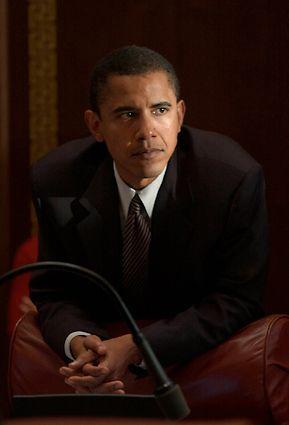 State Sen. Barack Obama, during session in the Senate chambers.  Photo was taken on May 31, 2002.