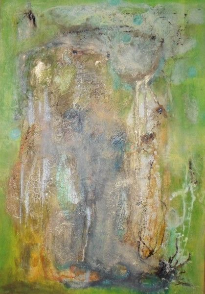 Unikat, Einzelstück, moderne Kunst, Tusche, Weihnachtsgeschenk, besonderes Geschenk, Acrylmalerei - abstraktes Bild, 70 x 100 cm, grün, gold, braun, - ein Designerstück von Atelier-Melanie-Landgraf bei DaWanda