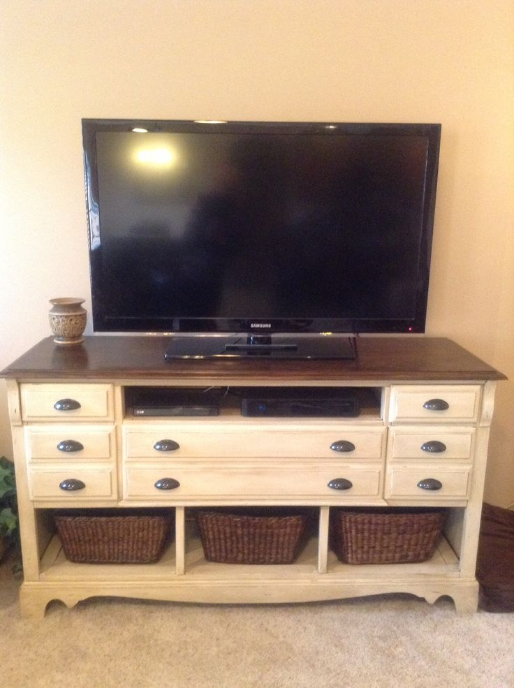 I turned an old dresser into a beautiful TV stand.