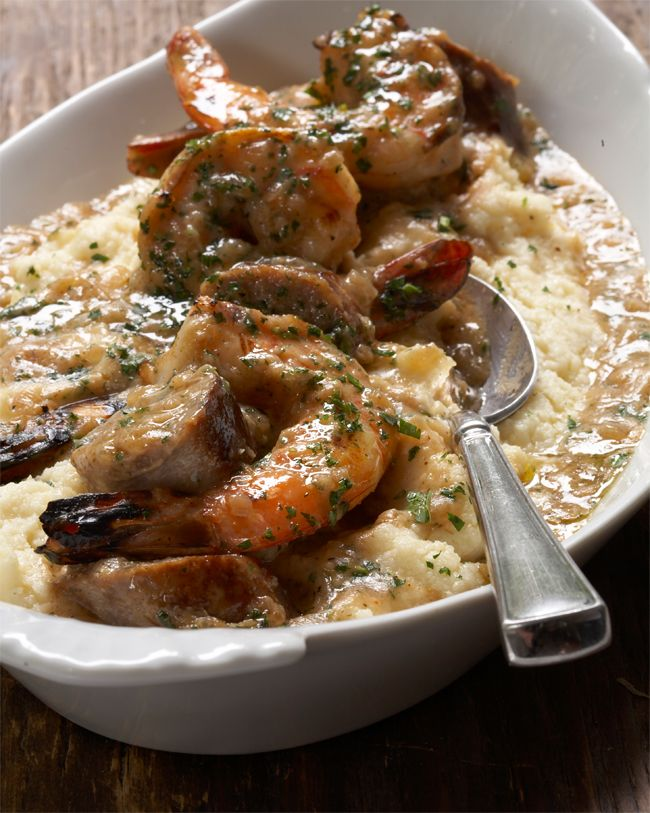 Shrimp & Grits by Tyler Florence - he was a North Carolina boy before moving to the left coast, so I hoping this taste like Southern shrimp & grits