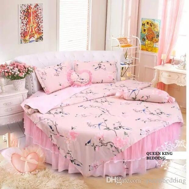 Dream Round Bed Duvet Cover Set Home Round Bedding Set Bed Skirt Round Bed Princess Bedding Cotton Bed Linen Bedskirt Wedding Home Set Round Bedding Set Round Duvet Cover Round Bed Home Set Online with 194.54/Piece on Queenbedding's Store | DHgate.com