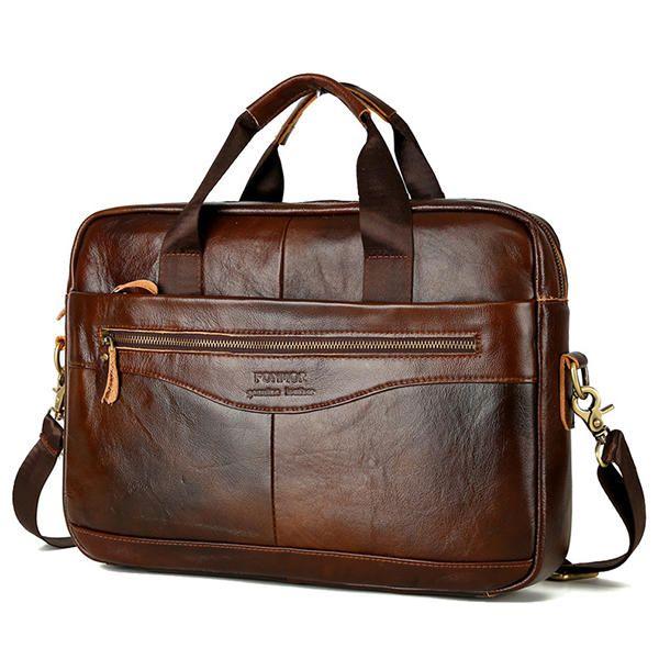 Wax Oil Cow Leather Vintage Handbag Business Briefcase Crossbody Shoulder Bag - US$54.89  #men #women  #bags #fashion