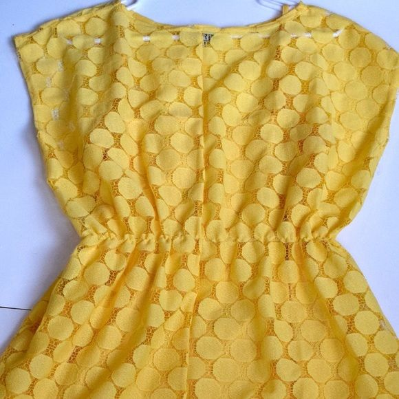 Yellow dot dress! sale! This yellow dot patterned dress is an see through dotted pattern overlay with a matching yellow slip. This dress has a short hemline with slight cap sleeves. It's the perfect dress for summer! ASOS Dresses Mini