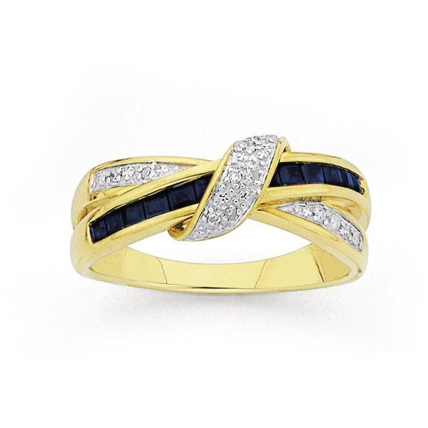 9ct Gold Sapphire & Diamond Crossover Ring