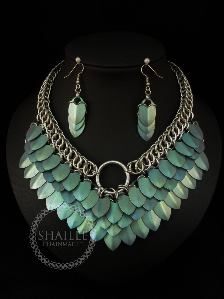 Chainmaille Goddess Necklace with Green Titanium Scales by ShailleChainmaille on Etsy
