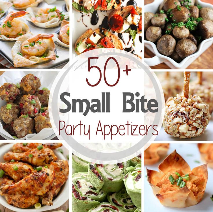 50+ Small Bite Party Appetizers ~ Get ready for holiday parties and New Year's Eve! This round up has more than 50 recipes from the best bloggers