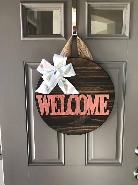 Welcome Sign For Front Door Door Wreath Door Decor Door Hanger For All Year Front Door Wreaths Wood Deco Door Decorations Painted Front Doors Door Hangers