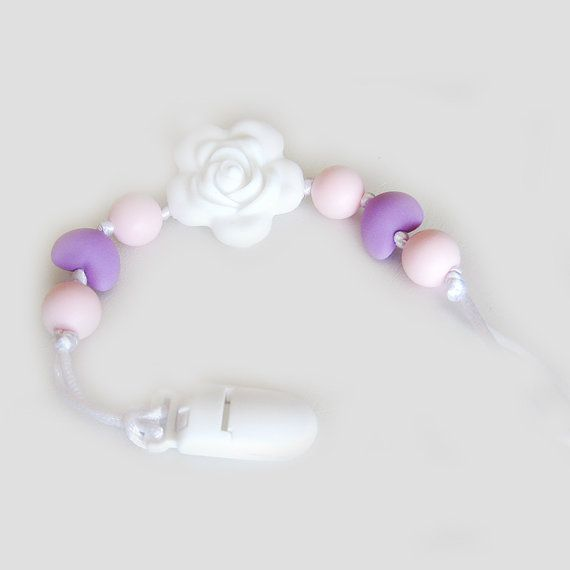 Pacifier Clip Silicone flower rose Soother clip Baby by BebePerla