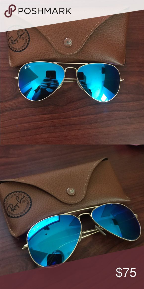Ray Bans Gold Lined Blue Aviator Ray Bans w. Case. I'm firm on my price; please don't make ridiculously low offers. Ray-Ban Accessories Sunglasses