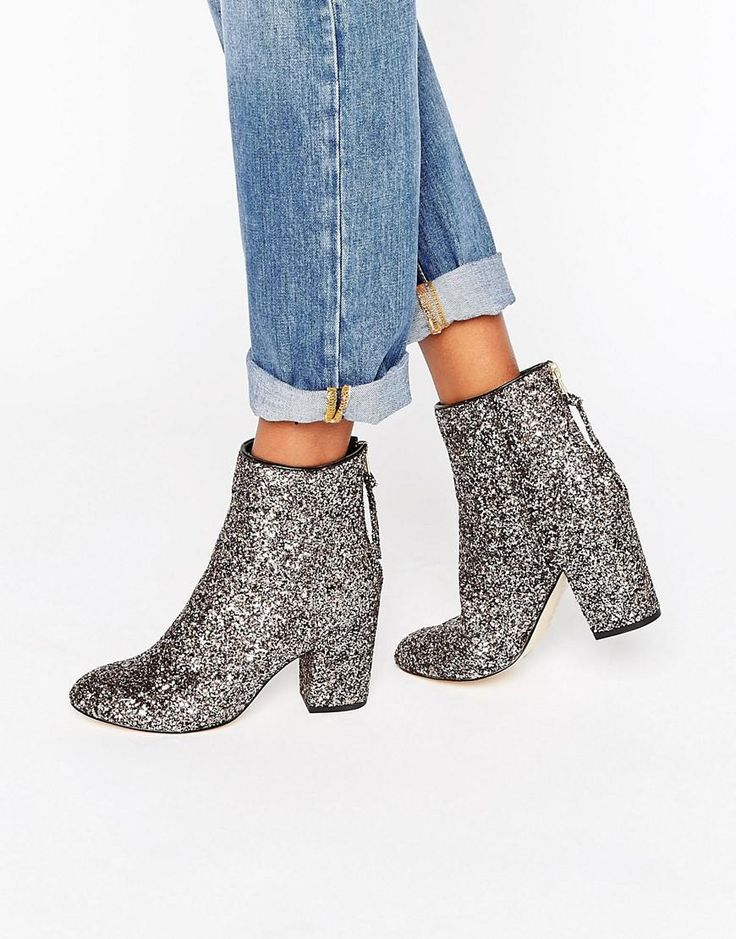 River Island | River Island Glitter Heeled Boots at ASOS
