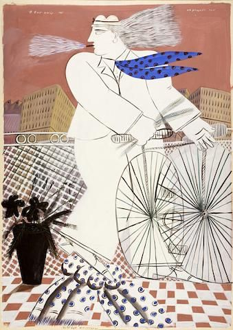 Alecos Fassianos (Greek:1935) - At his balcony 214 x 151 cm.