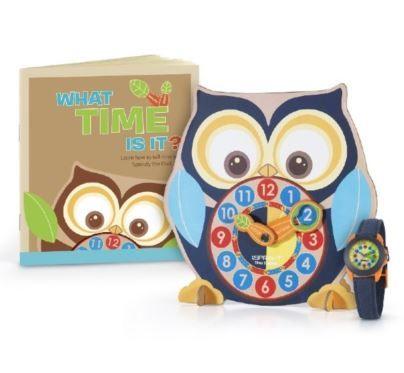 Help him make a big step toward feeling like a grown up! The Sprout Time Teacher Set is a fun and eco-friendly way to teach your child how to tell time like a champ! This one-of-a-kind set includes a Sprouty The Owl Time Teacher Clock, a fun time-telling book filled with activities, tips and tricks and his very first Sprout biodegradable watch.