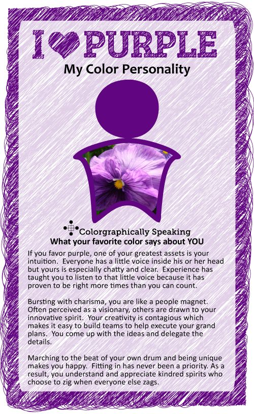 Purple: Find out what your favorite color says about you in the I ♥ Color series from The Land of Color.