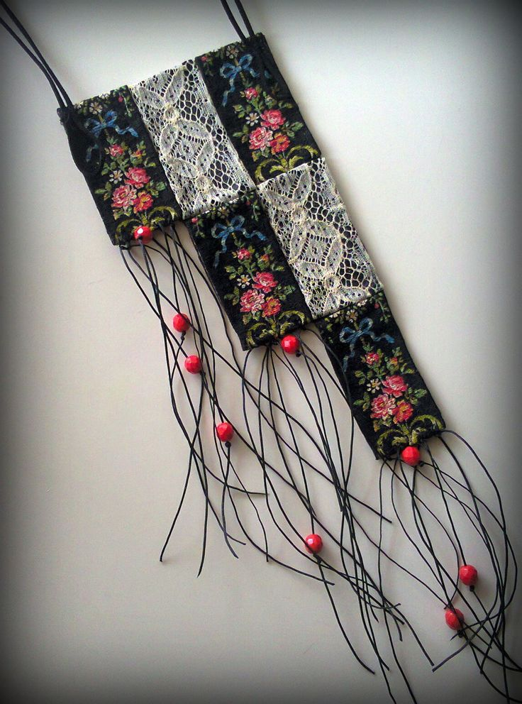vintage ribbon and lace necklace/KINZ jewelry