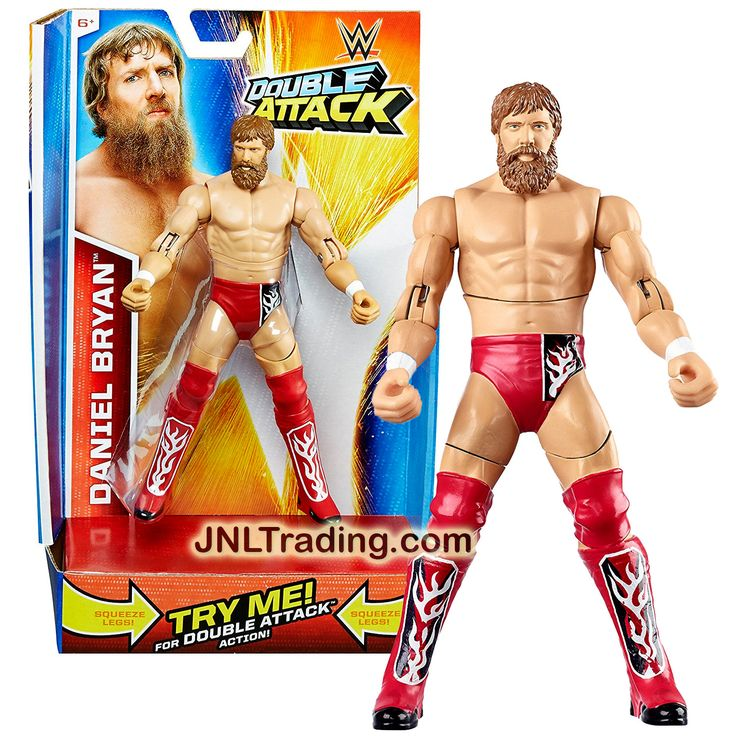 Mattel Year 2014 World Wrestling Entertainment WWE Double Attack Series 7 Inch Tall Figure - DANIEL BRYAN with Swing Attack Action