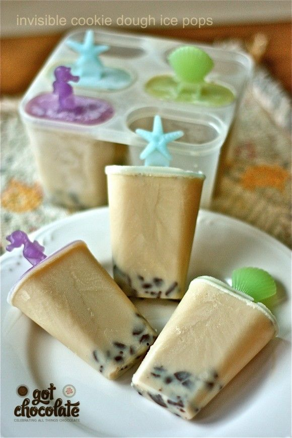 Cookie dough ice pops (milk, brown sugar, vanilla, chocolate chips) Flipping awesome!!! So, so good! I bet Gavin would love these!
