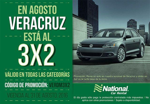 ¡En #Agosto te invitamos a disfrutar del 3X2 en #Veracruz!  Reserva ahora... www.nationalcar.com.mx  e ingresa el código VERDM3x2! #NosotrosTeLlevamos