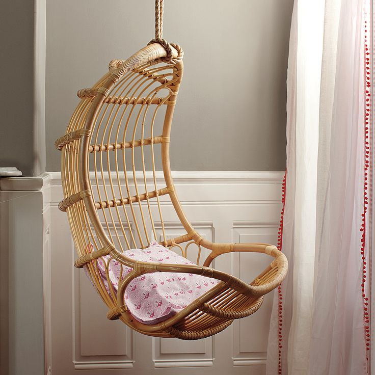Hanging Rattan Chair Inspired By A Scandinavian Design From The 60s, The  Sculptural Frame Is