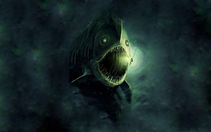 fantasy, рисунок, человек, монстр, picture, рыба, Фантастика