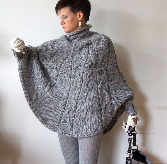 Hand knitted poncho braided cape sweater,fall fashion cabled poncho, avant garde traffic stoper, hottest fall trend, gray melange sweater