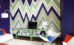 Multicolor zig zag wall.