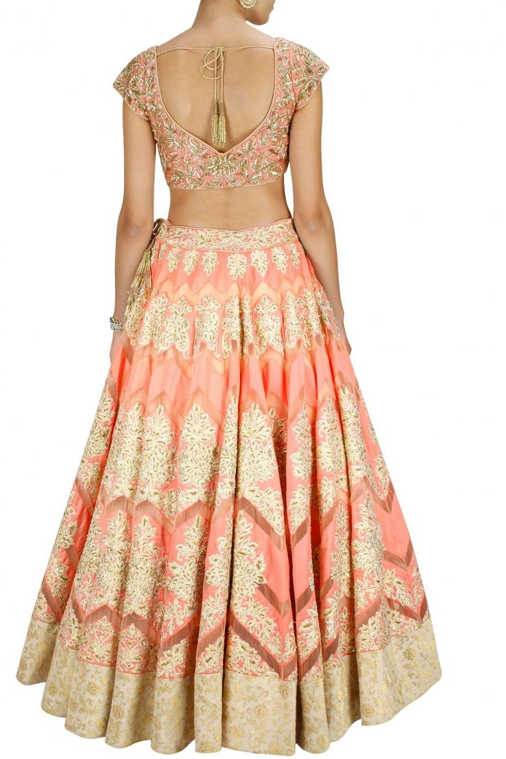 Peach with gold resham embroidered lehenga set available only at Pernia's Pop-Up Shop.
