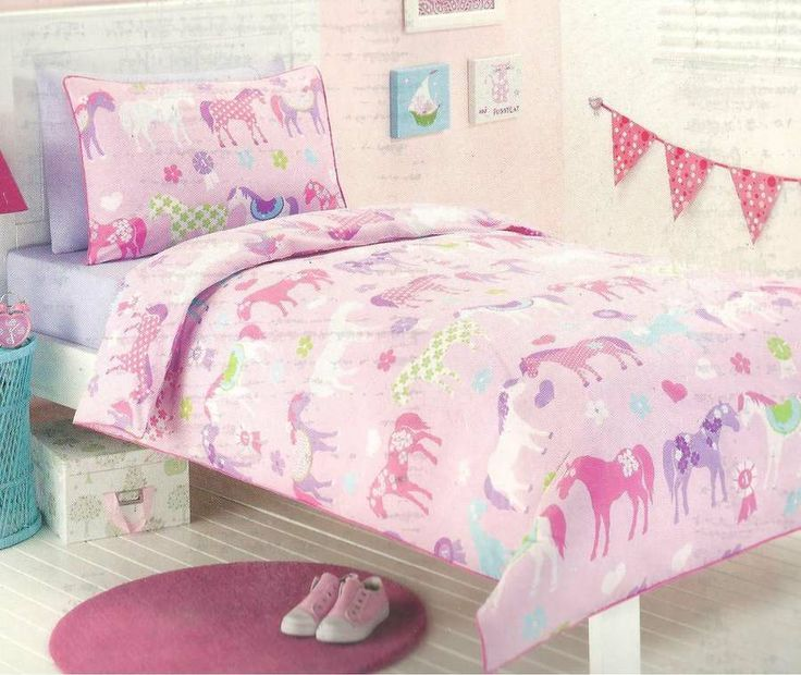 Pony Bedding For S Bedroom Park Horses Pink Single Twin Bed Quilt Doona Cover Set New L In 2018 Pinterest