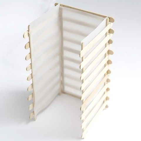 This Japanese inspired square lantern for tealights is made  with staggered slats made from lolly sticks which are glued together. The...