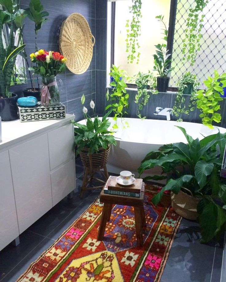 If you already had a modern bathroom, this is a good way to bring boho warmth back into it