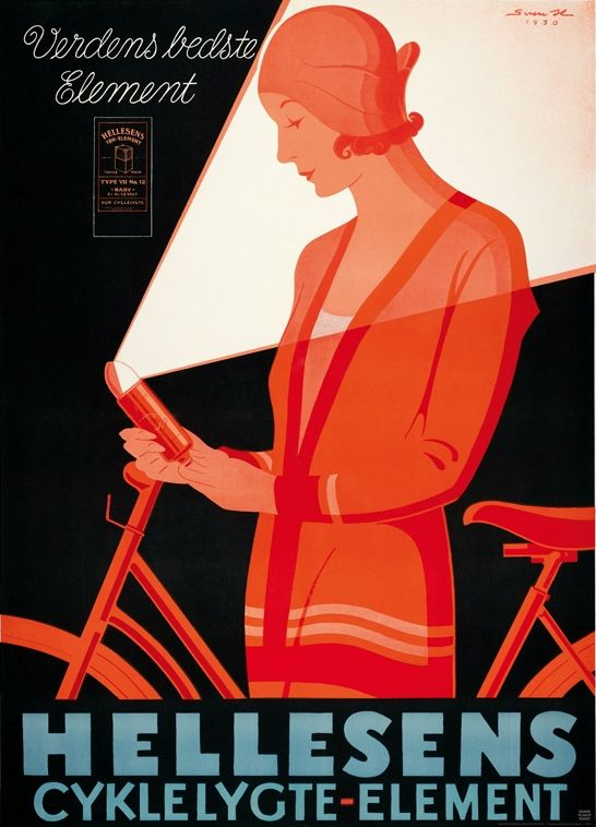 Advertising by Sven Henriksen, 1930, Hellesens Cyklelygte Element. (Danish)