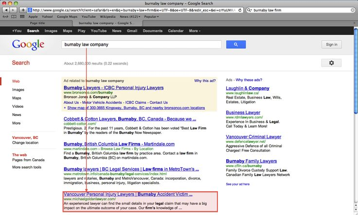 """Our organic #SEO project results - """"burnaby law company"""" keyword. Check out more information about our: <a href=""""http://www.vandesign.ca/seo/"""">Search Engine Optimization (SEO)</a> services #searchengineoptimization #searchmarketing #digitalmarketing"""