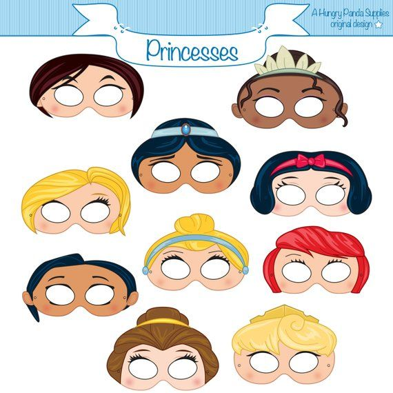 Princess Masks Printable Princess Character Party Masks