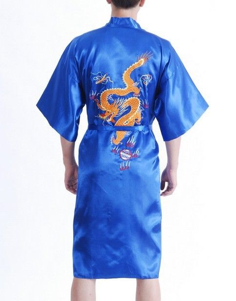 5c53c91b7d New Fashion Blue Male Satin Night Gown Chinese Embroidery Robe Dragon  Kimono Gown Size S M L XL XXL XXXL S0021