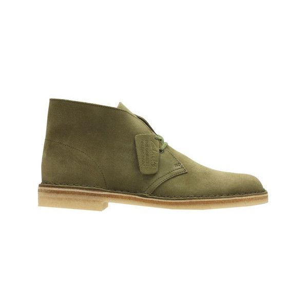 Men's Clarks Desert Boot ($140) ❤ liked on Polyvore featuring men's fashion, men's shoes, men's boots, casual, green, suede shoes, mens lace up boots, mens desert boots, mens moccasins and clarks mens boots