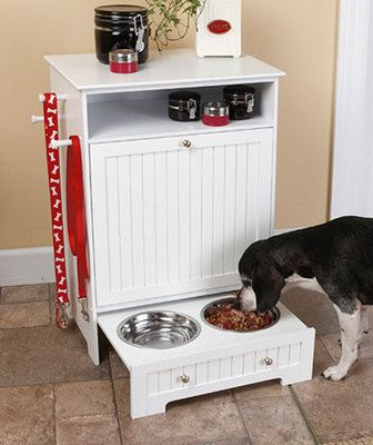 Wood Dog Cat Food Storage Cabinet Feeding Station Pull Out Raised Food Bowls | eBay I like how this version has a lot of storage to keep all of doggies goodies in one space