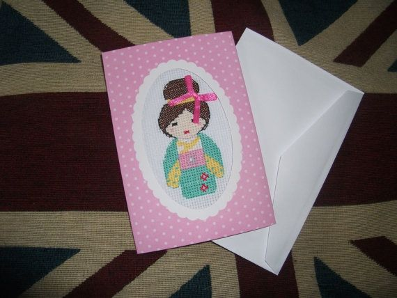 Kokeshi doll cross stitched card on Etsy,